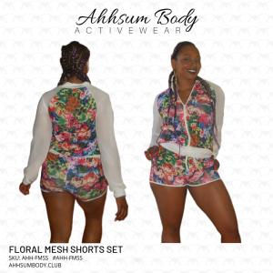 Floral Mesh Shorts Set-AHH-FMSS